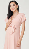 ODELIA FRONT ZIP NURSING DRESS PINK