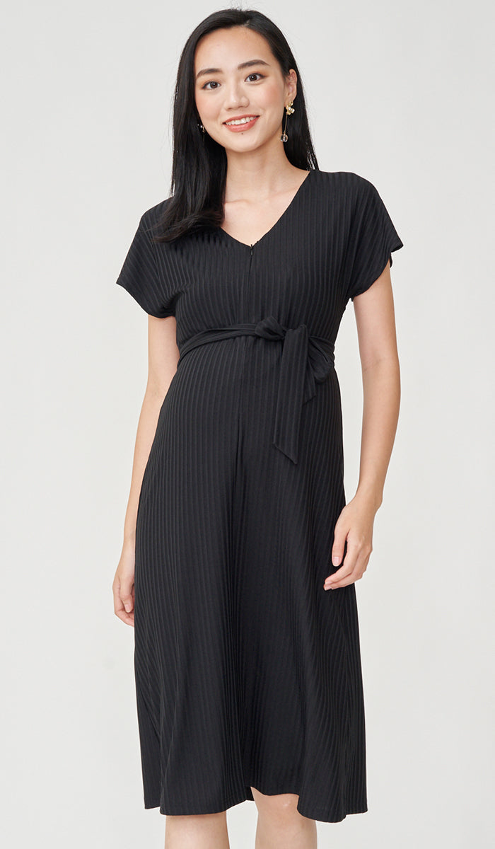 ODELIA FRONT ZIP NURSING DRESS BLACK