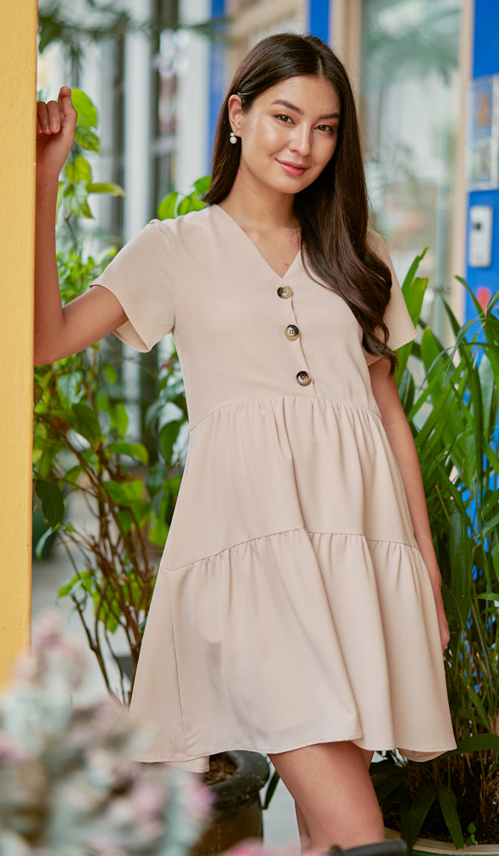 PENNY BUTTONDOWN DRESS NUDE