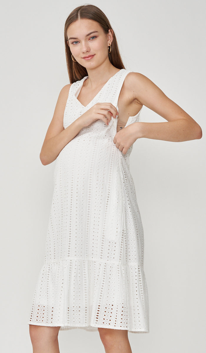 PIA CROCHET NURSING DRESS WHITE