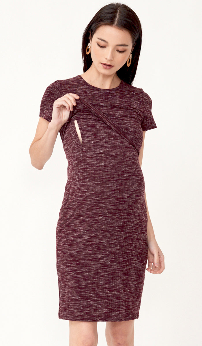 QUINN BODYCON NURSING DRESS CURRANT