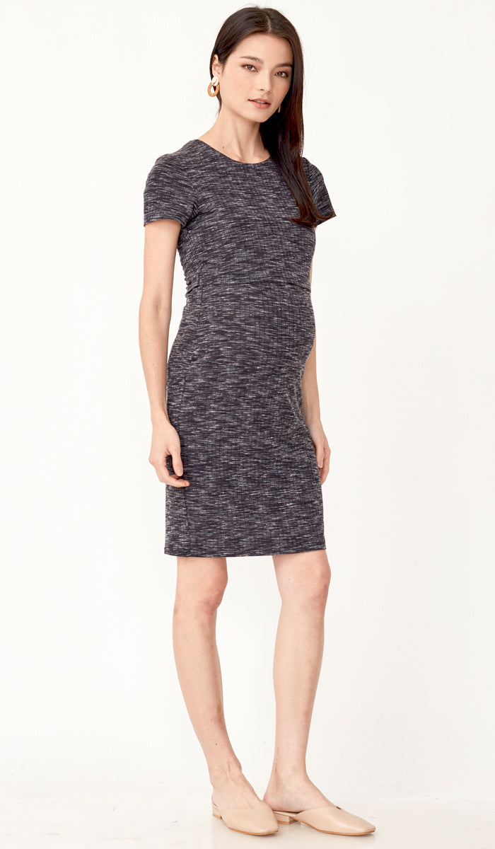 QUINN BODYCON NURSING DRESS CHARCOAL