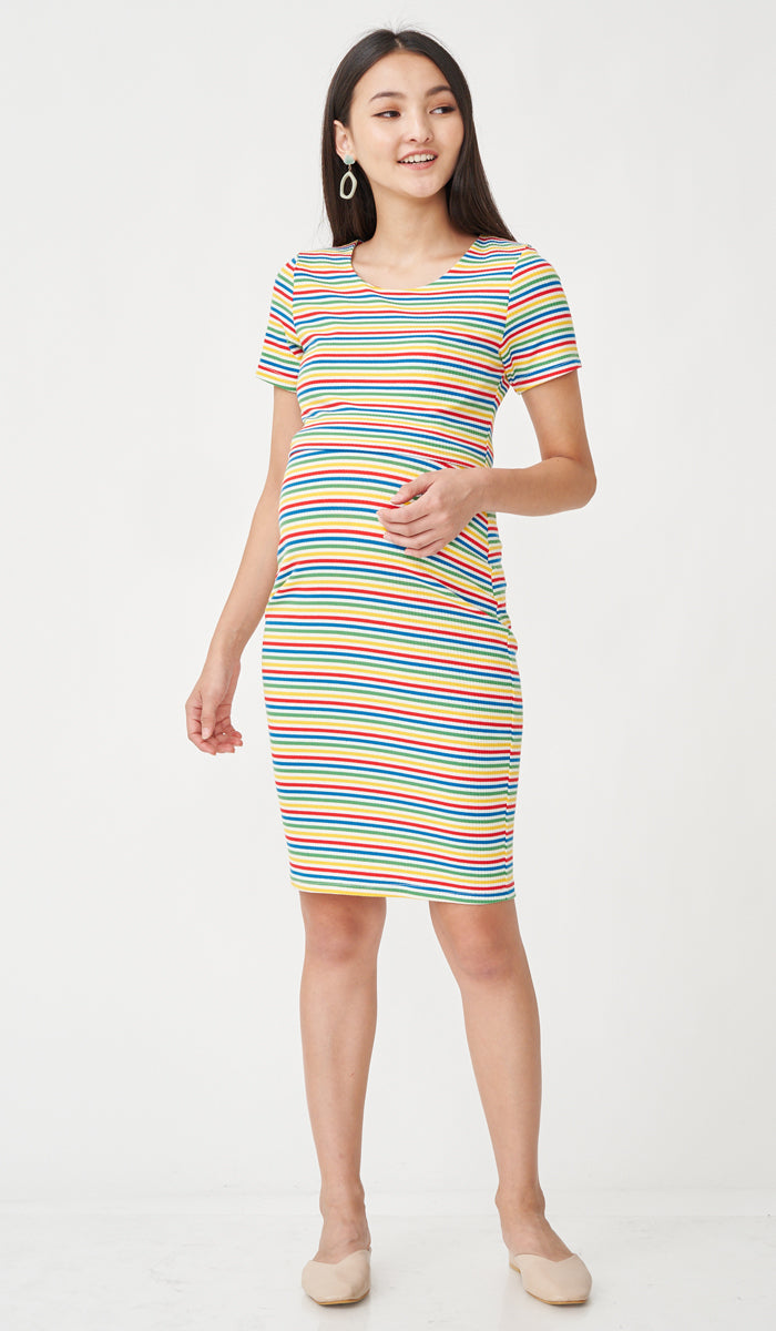 SALE - RIKO BODYCON NURSING DRESS RAINBOW