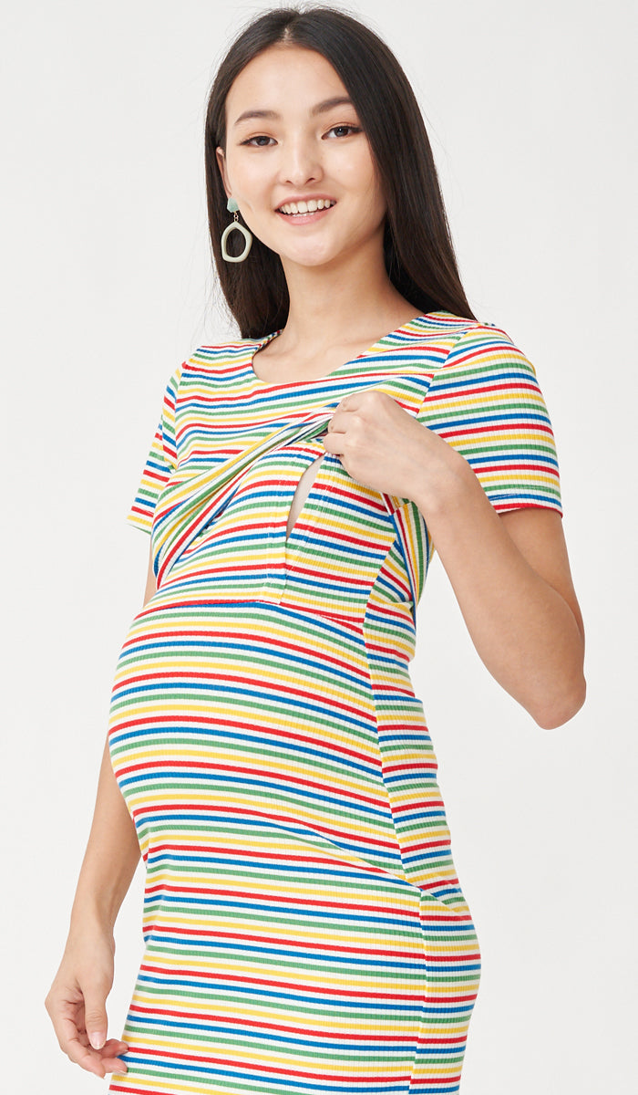 RIKO BODYCON NURSING DRESS RAINBOW