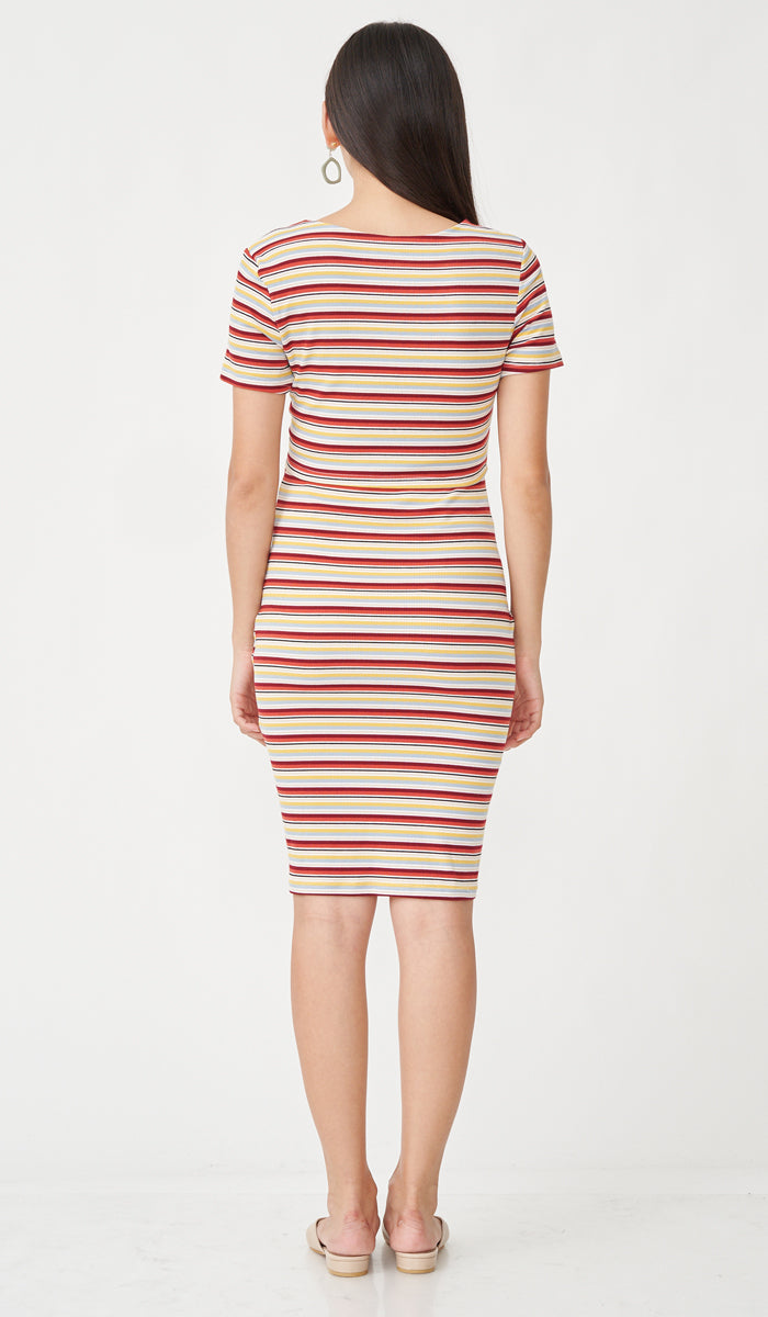 RIKO BODYCON NURSING DRESS SUNSET