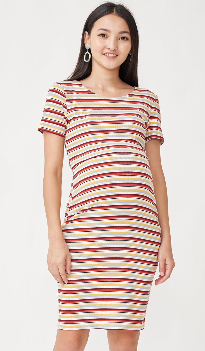 SALE - RIKO BODYCON NURSING DRESS SUNSET