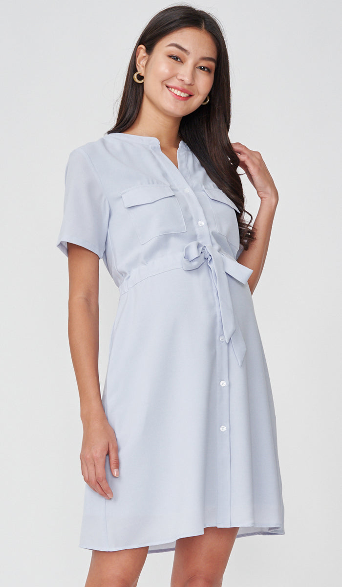 RILEY NURSING SHIRTDRESS LIGHT BLUE