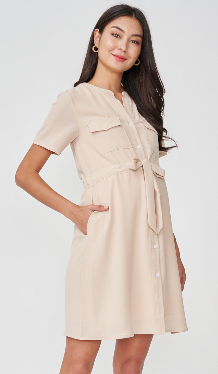 RILEY NURSING SHIRTDRESS NUDE