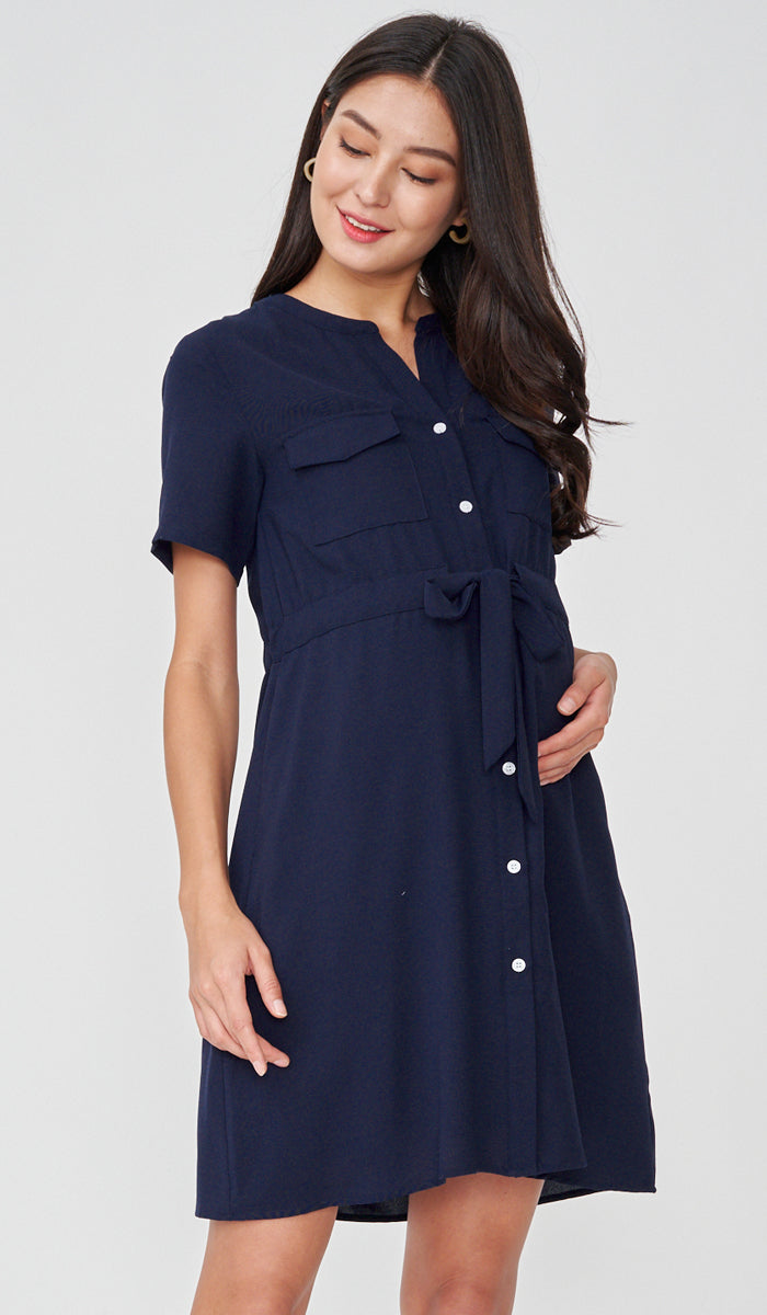 RILEY NURSING SHIRTDRESS NAVY