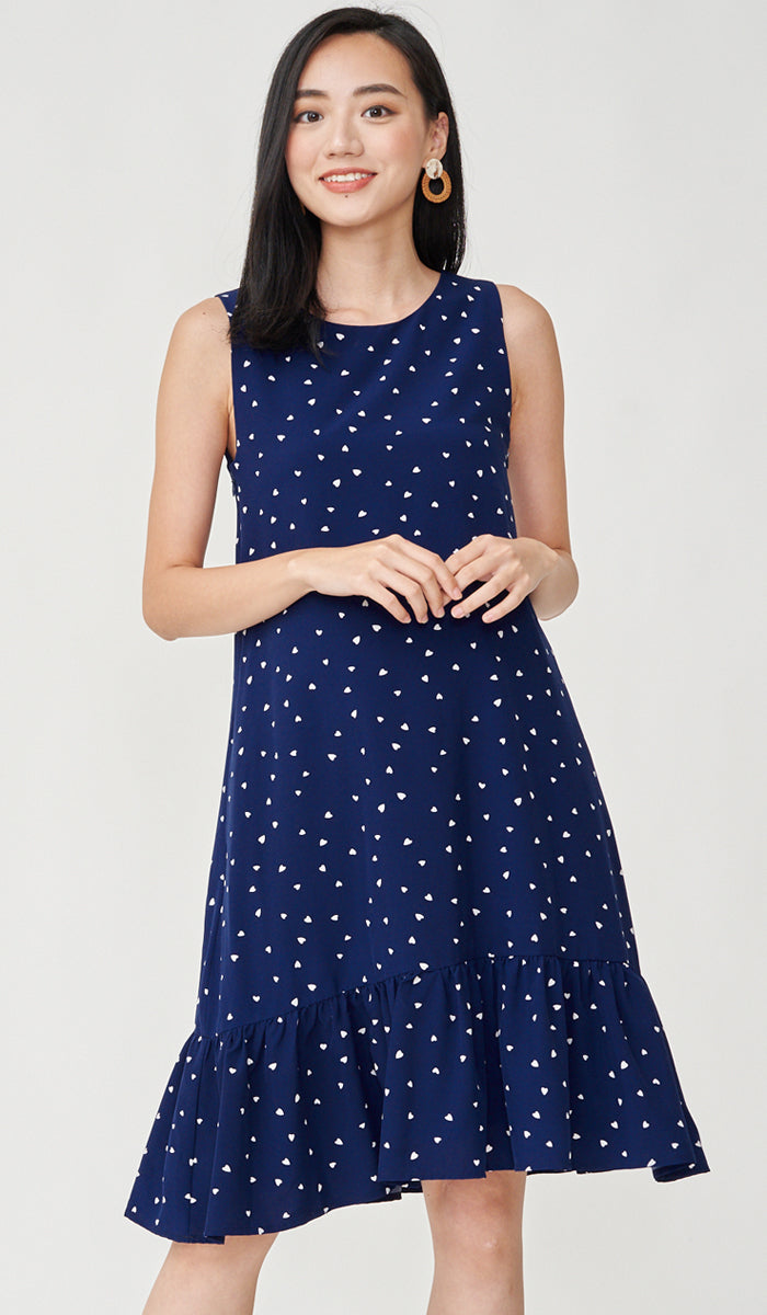 TINY HEARTS NURSING DRESS NAVY