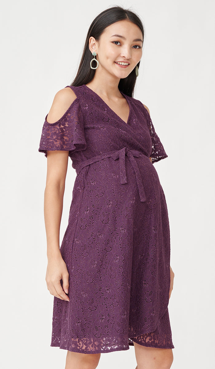 ZARA DROP SLEEVE LACE DRESS PLUM