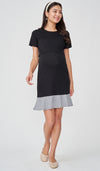 TERRY STRIPED HEM NURSING DRESS BLACK