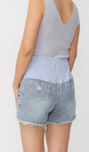 JAELLE DENIM MATERNITY SHORTS LIGHT BLUE