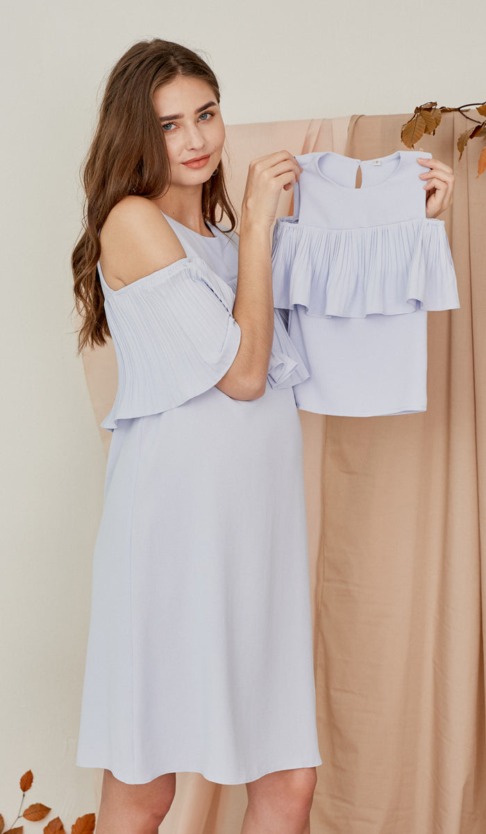 KAYLA DROP SHOULDER PLEAT DRESS SKY BLUE