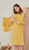 KAYLA DROP SHOULDER PLEAT DRESS YELLOW