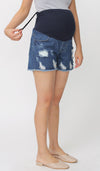 LORA DENIM MATERNITY SHORTS DARK BLUE