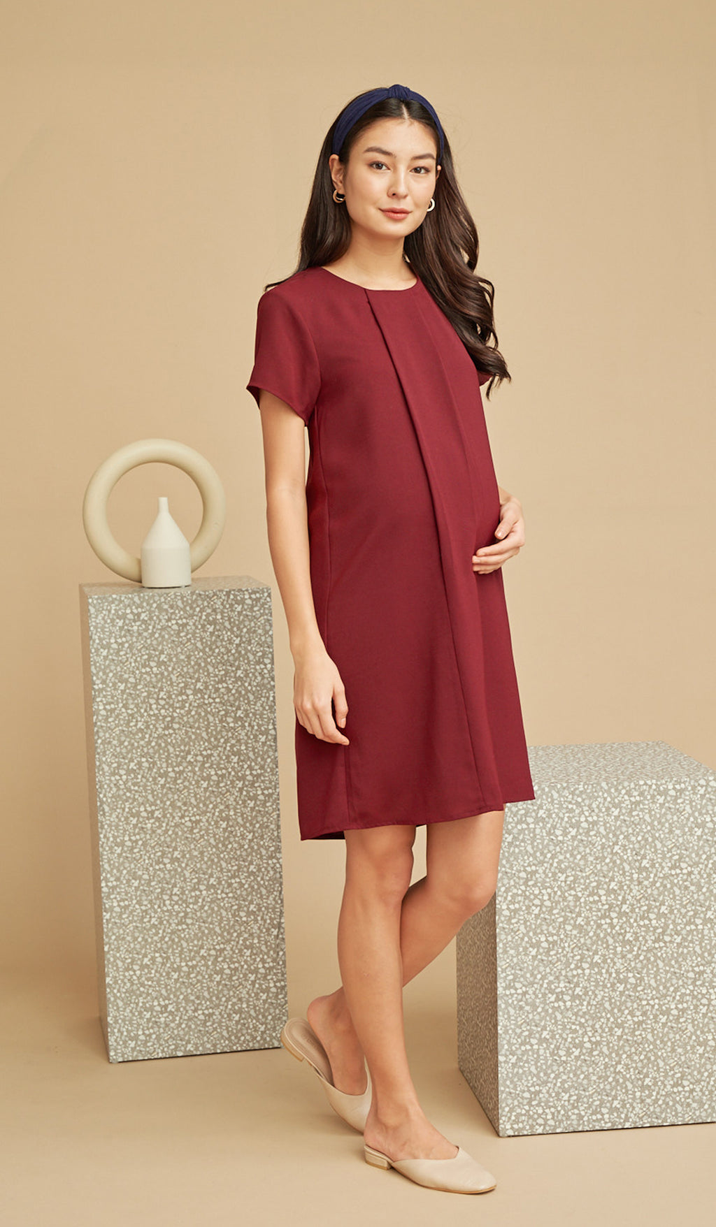 ANGIE NURSING SHIFT DRESS WINE