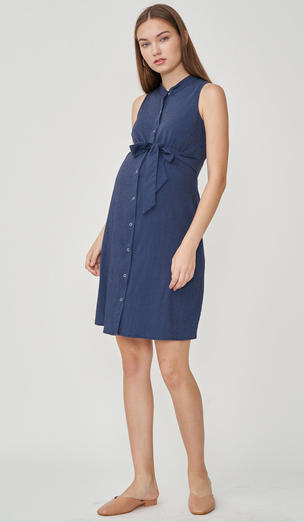 CALLIE DENIM WASH SHIRT DRESS W SASH