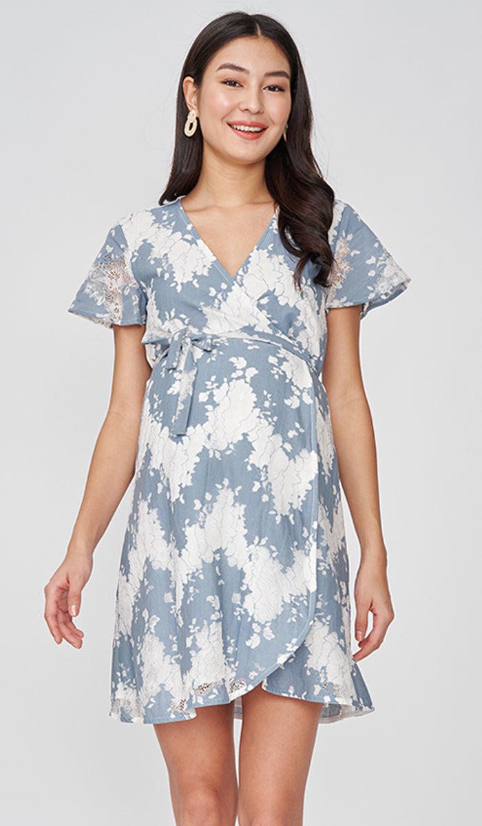 COLETTE LACE WRAP DRESS BLUE