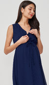 CORA SWISS DOT NURSING MIDI DRESS NAVY
