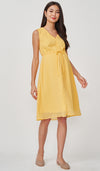 CORA SWISS DOT NURSING MIDI DRESS YELLOW