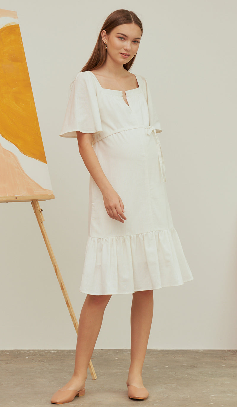 DALIAH 2-WAY NURSING DRESS WHITE