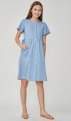 DANA DENIM WASH BUTTONDOWN DRESS BLUE