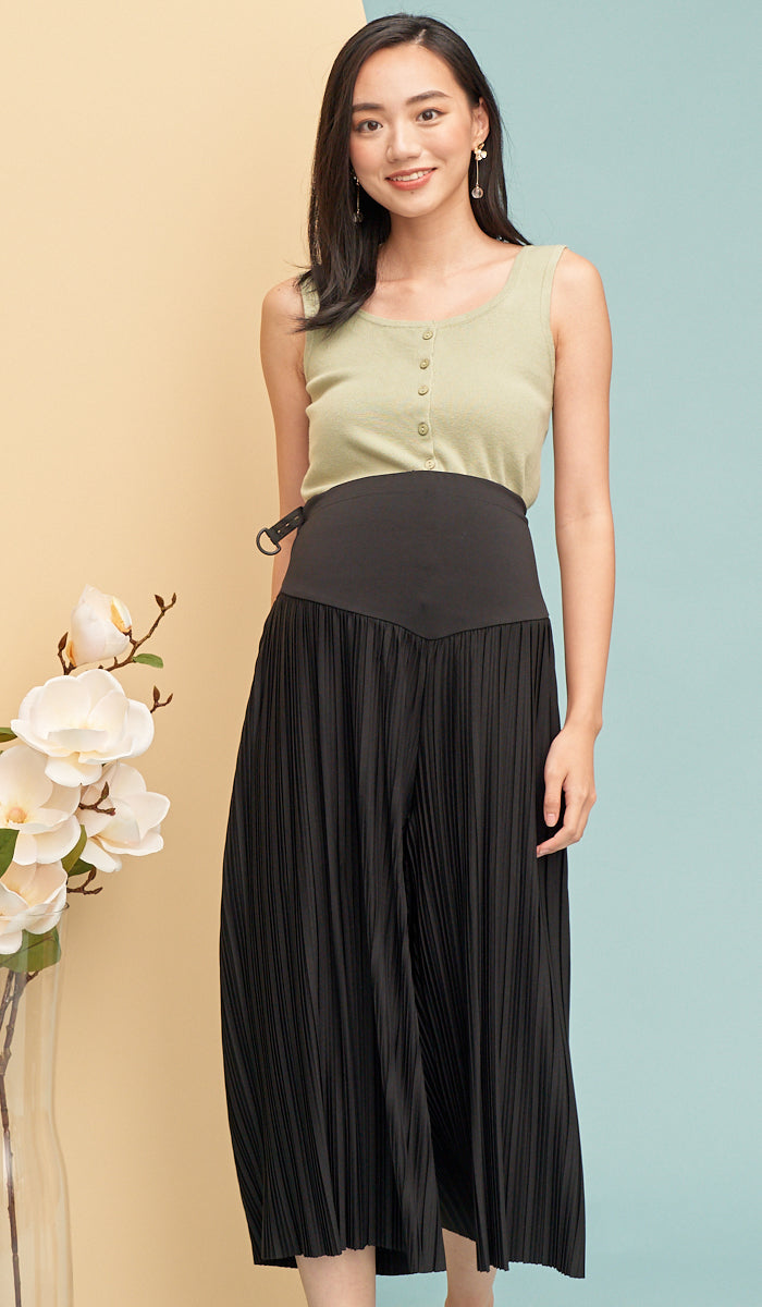 DANI MATERNITY PLEATED PANTS BLACK