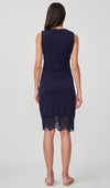 DAYLA LACE CROCHET HEM NURSING DRESS NAVY