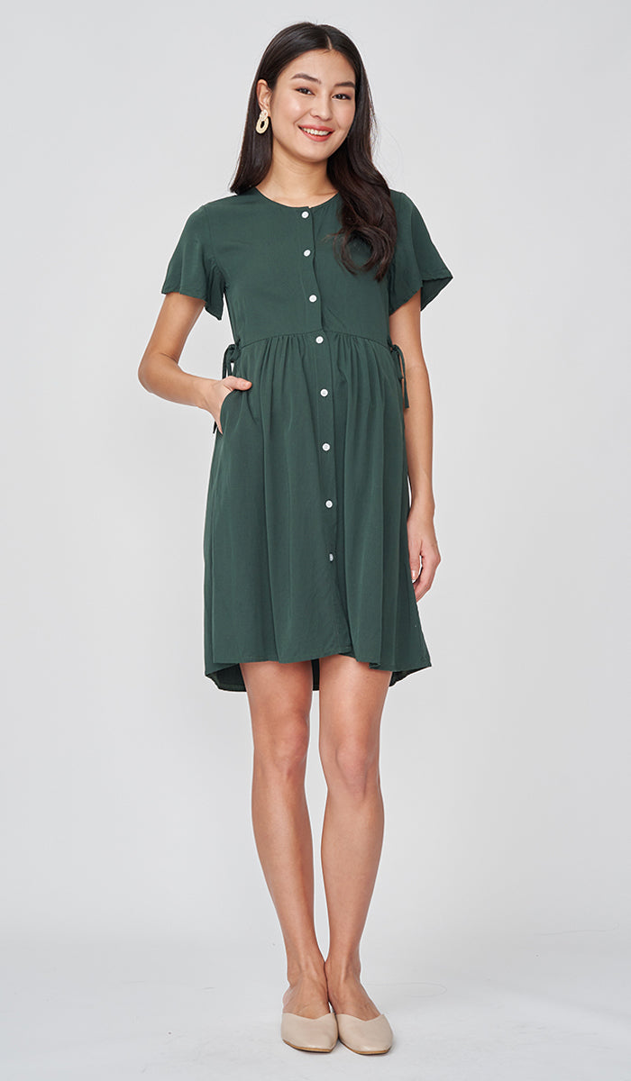 DORA BUTTONDOWN DRESS FOREST