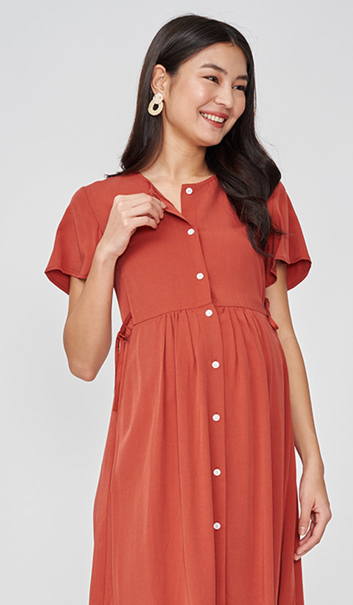 DORA BUTTONDOWN DRESS RUST