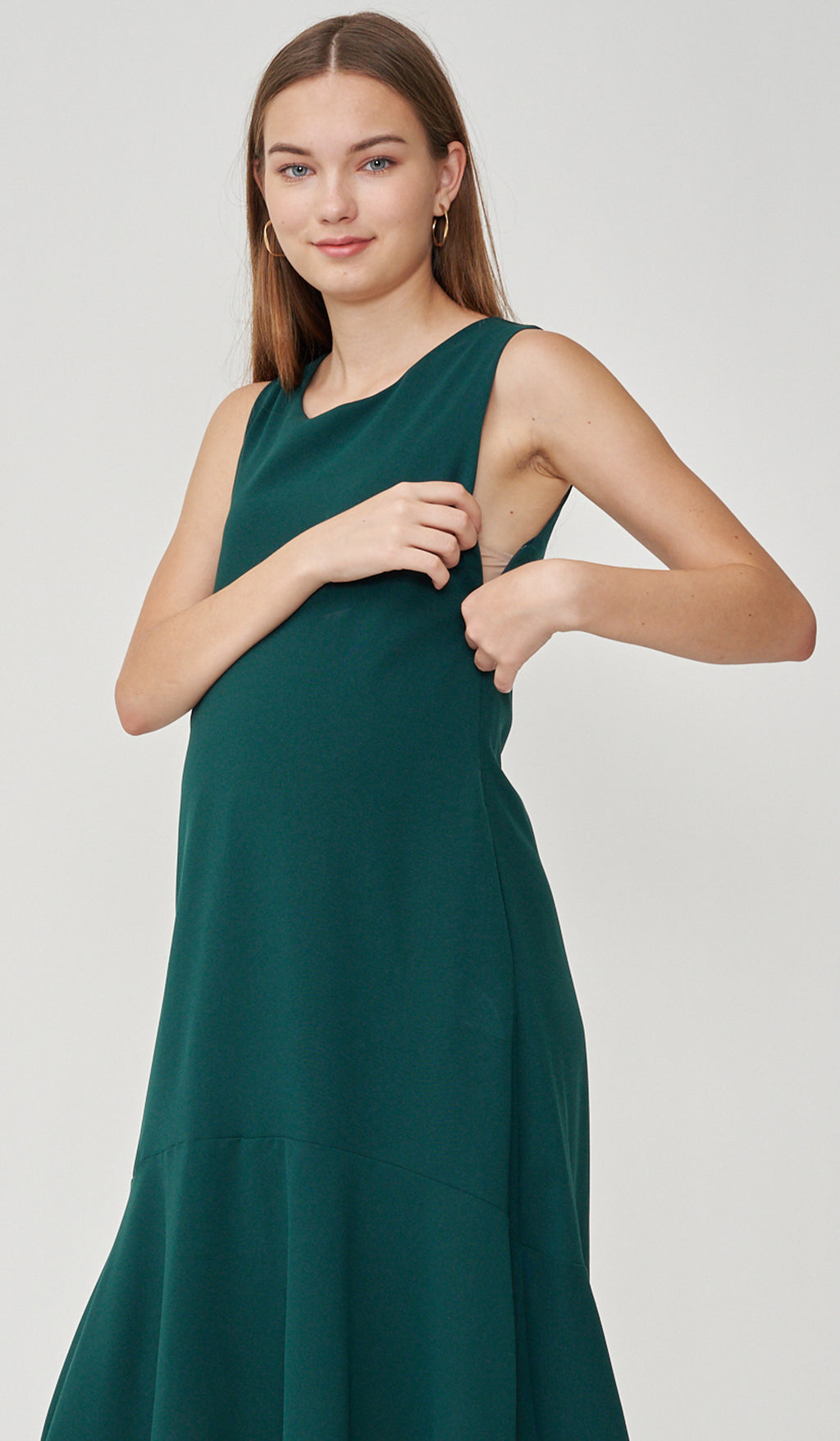 EDNA NURSING MIDI FLOUNCE DRESS GREEN