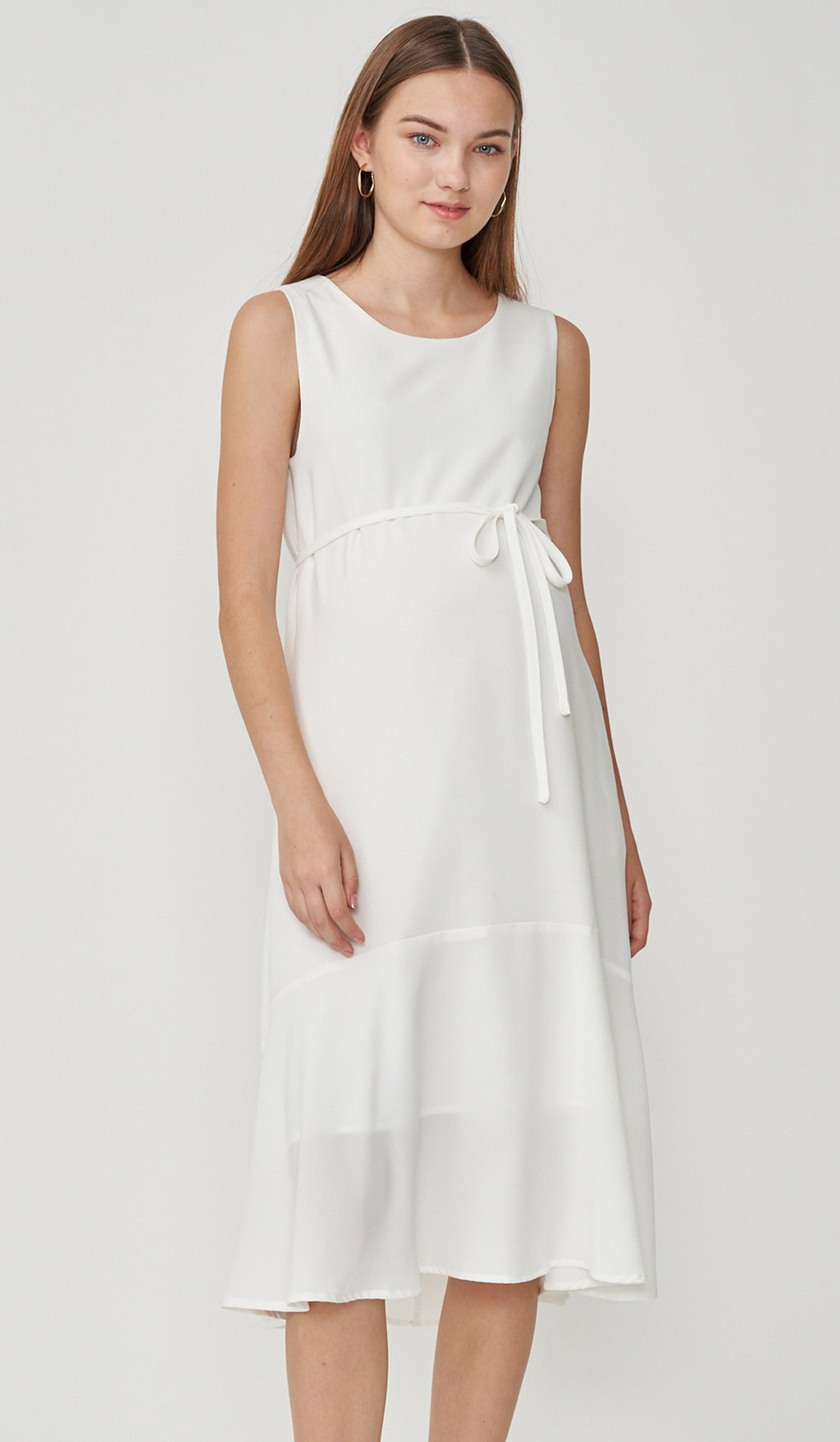 EDNA NURSING MIDI FLOUNCE DRESS WHITE