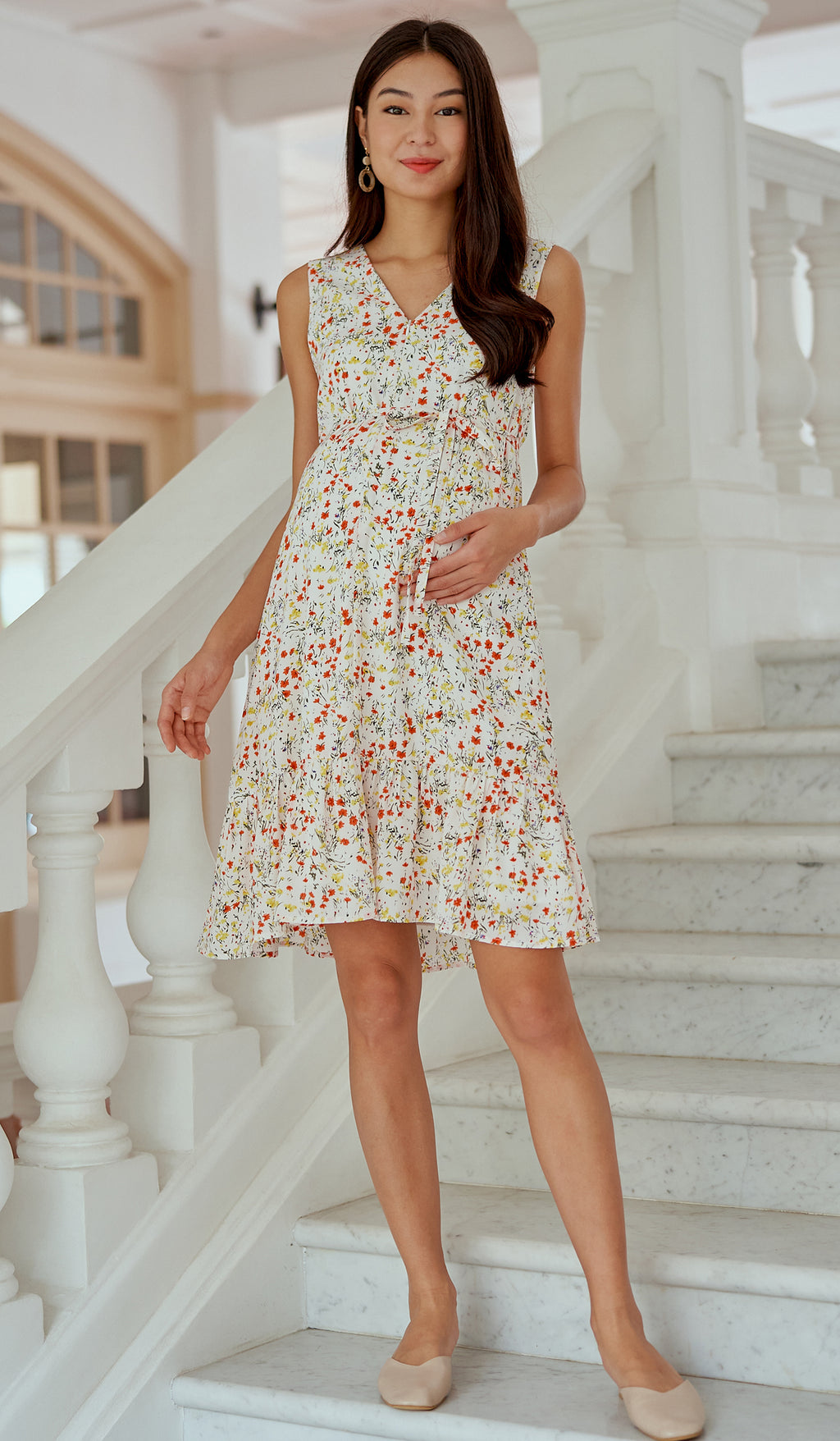EVELYN FLORAL FRONT ZIP NURSING DRESS