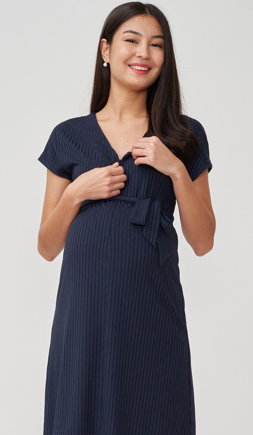 FAYE RIBBED FRONT ZIP NURSING DRESS NAVY