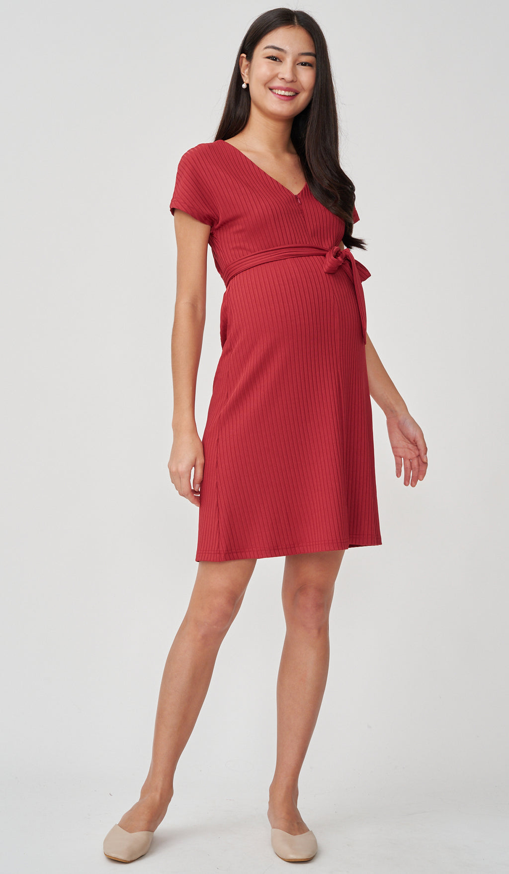 FAYE RIBBED FRONT ZIP NURSING DRESS RED