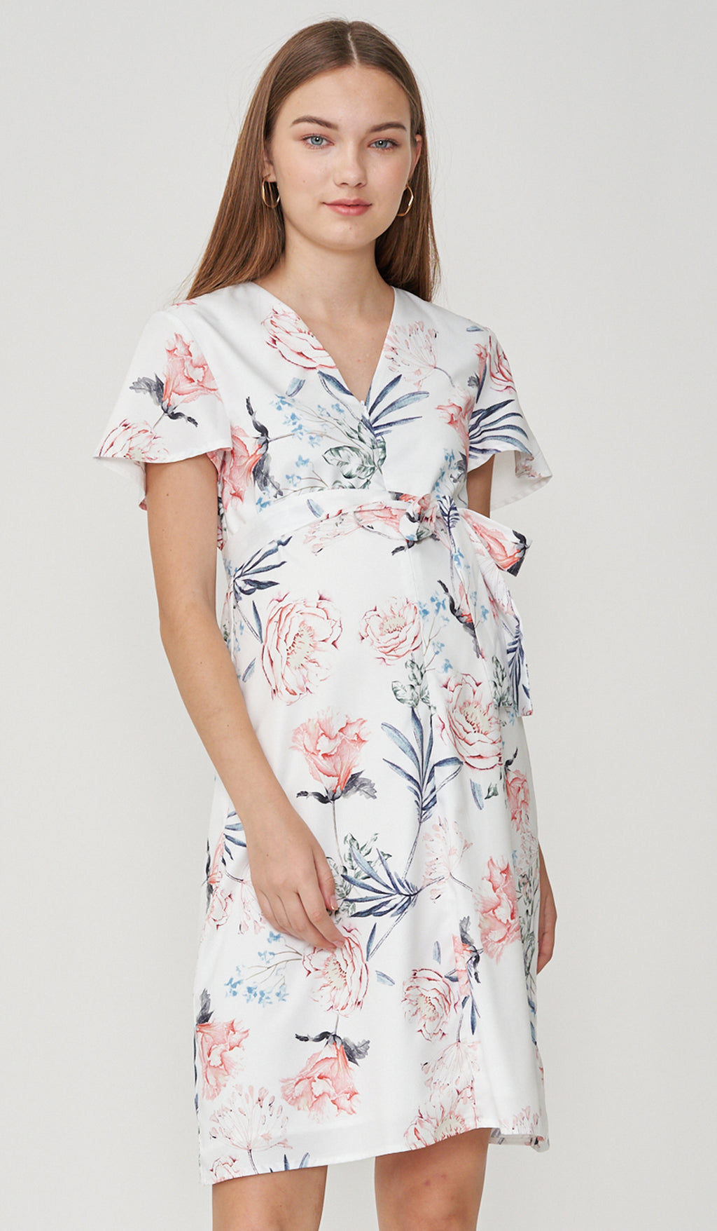 FLEUR FRONT ZIP NURSING DRESS WHITE