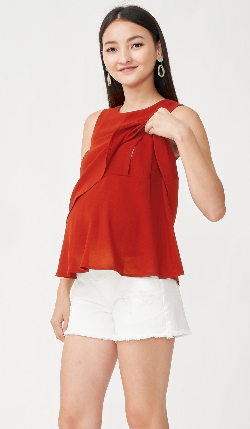 FREY NURSING TOP RUST
