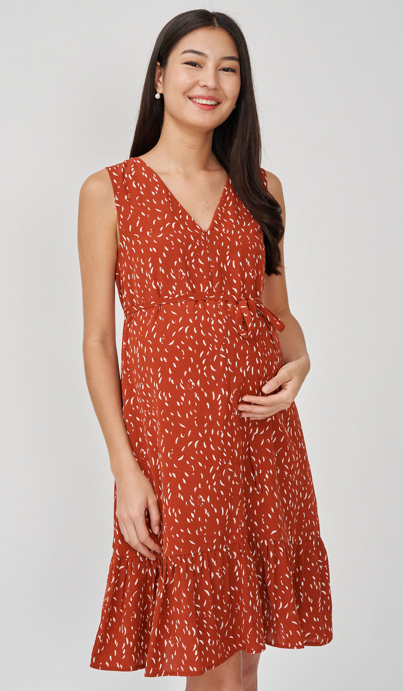 GEORGIA FRONT ZIP NURSING DRESS RUST