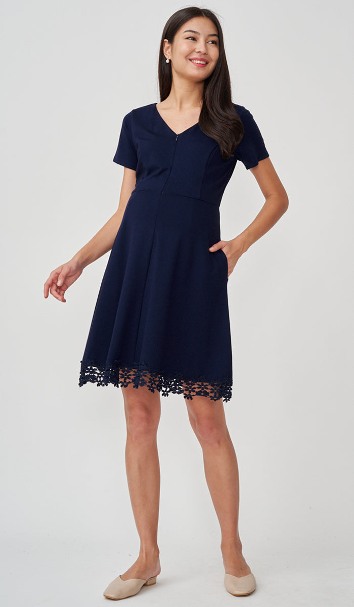 INGRID FRONT ZIP NURSING DRESS NAVY