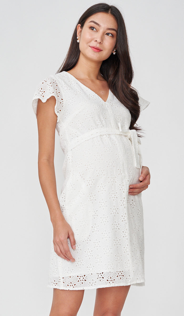 IRINA CROCHET FRONT ZIP NURSING DRESS WHITE