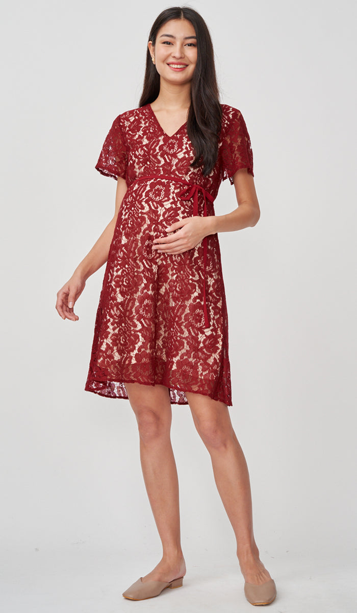 JASMIN LACE NURSING DRESS RED