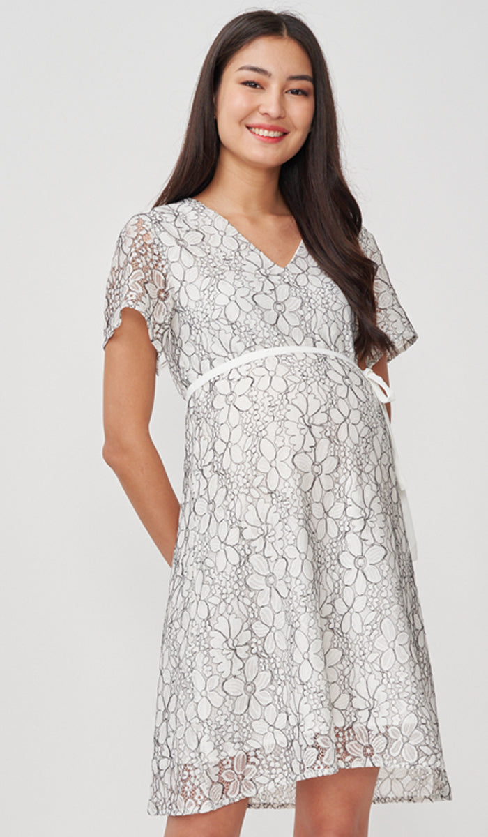 JASMIN LACE NURSING DRESS WHITE