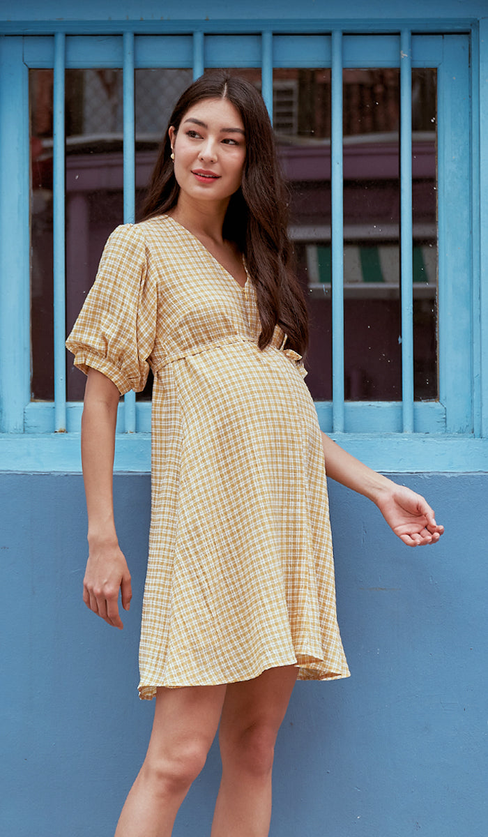 JAYNE CHECKED NURSING DRESS YELLOW