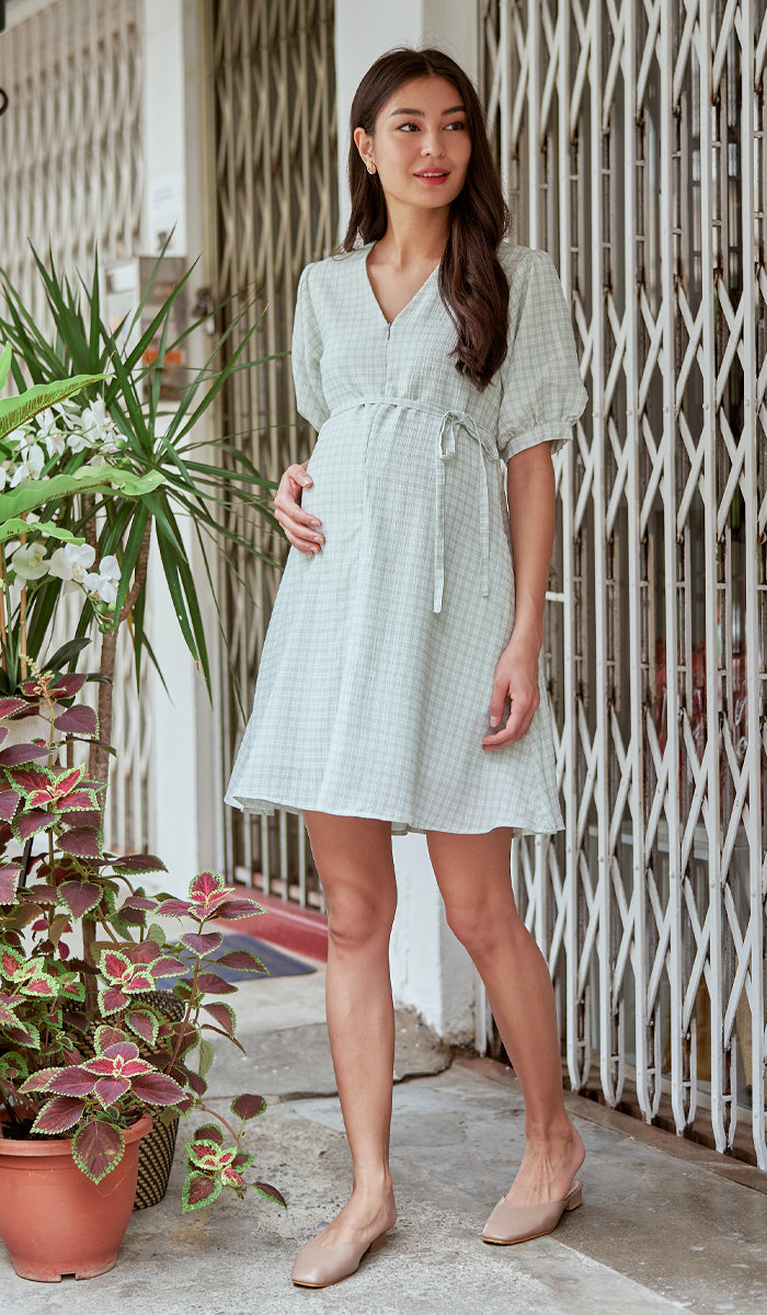 JAYNE CHECKED NURSING DRESS GREEN