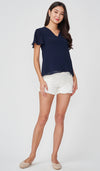 JULES ZIP FRONT NURSING TOP NAVY