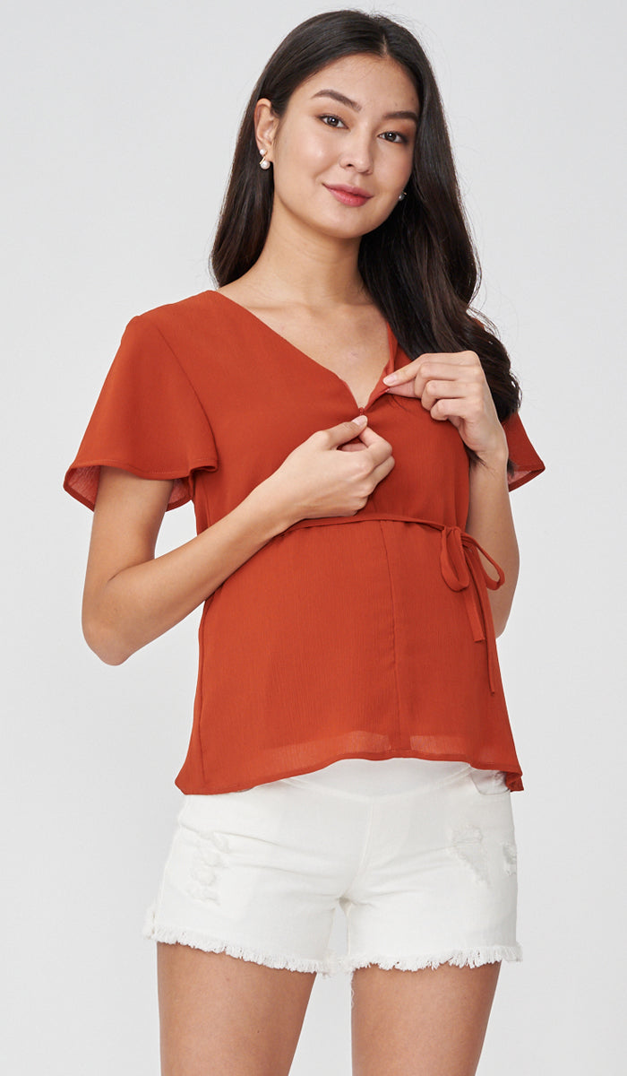 JULES ZIP FRONT NURSING TOP RUST