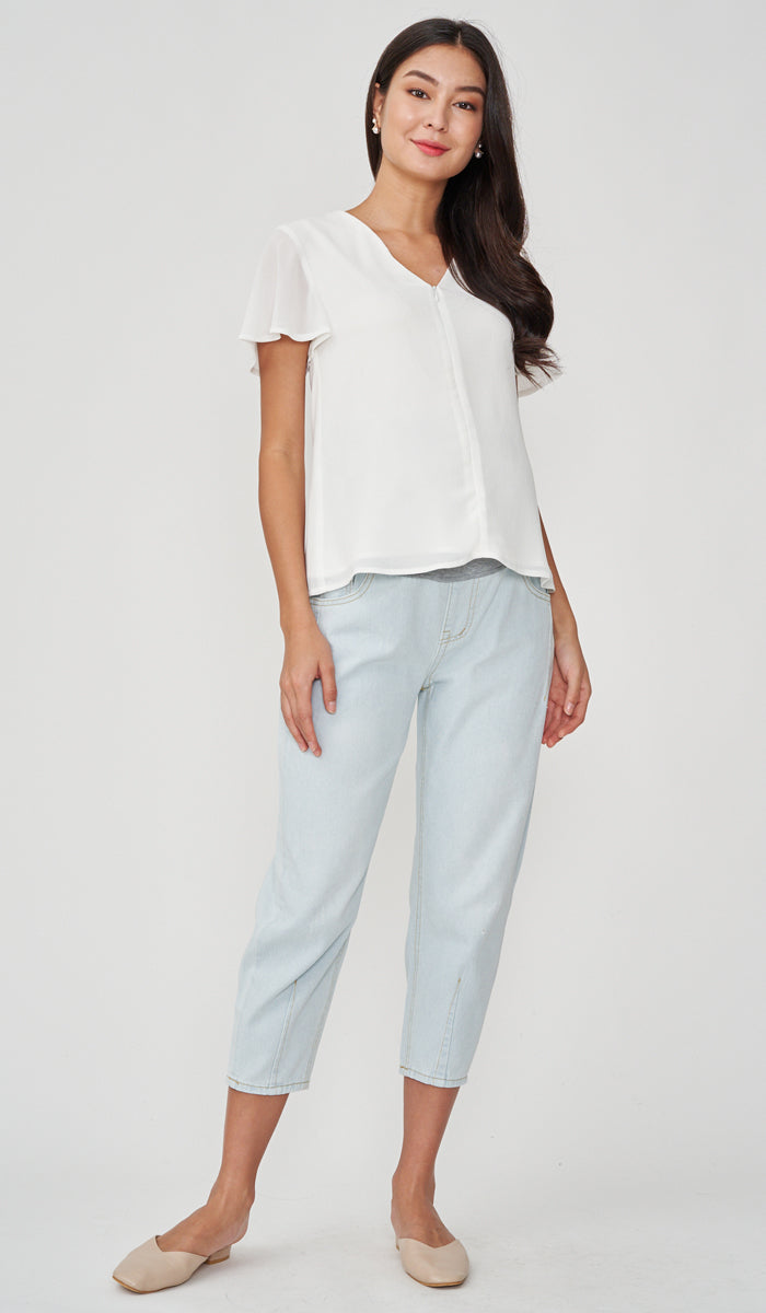 JULES ZIP FRONT NURSING TOP WHITE