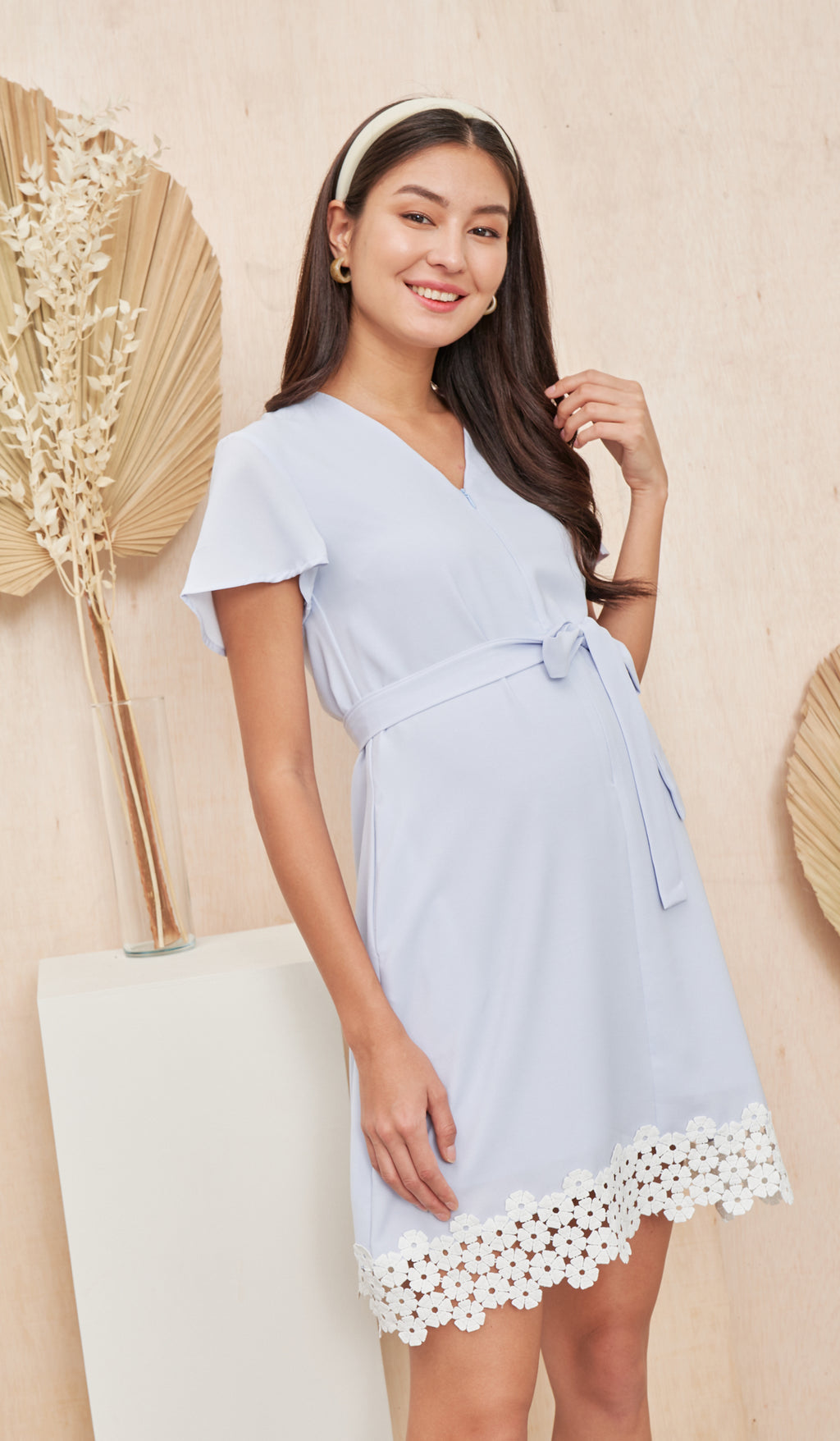 KASS CROCHET HEM NURSING DRESS BLUE