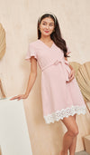 KASS CROCHET HEM NURSING DRESS PINK